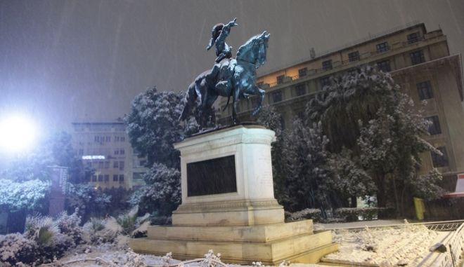 Χιόνια στο κέντρο της Αθήνας