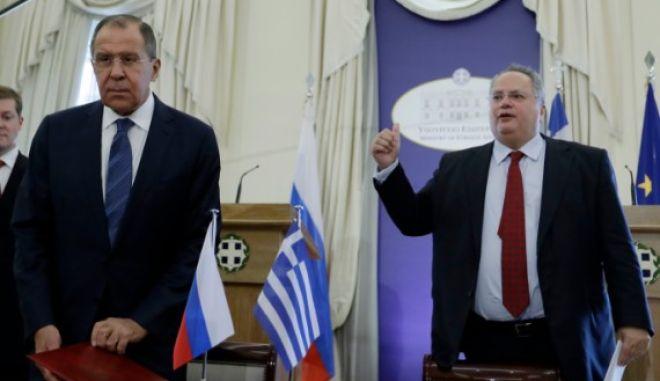 Από συνάντηση του Ρώσου υπουργού Εξωτερικών Σεργκέι Λαβρόφ με τον Ελληνα υπουργό Εξωτερικών Νίκο Κοτζιά