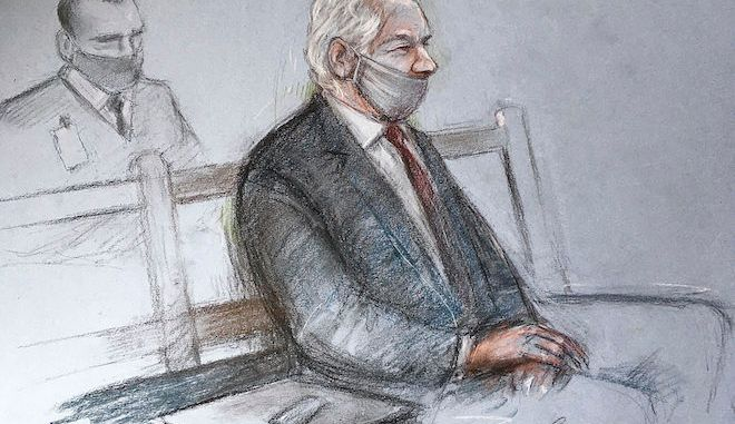 Σκίτσο του Julian Assange στο Old Bailey του Λονδίνου για την απόφαση στην υπόθεση έκδοσής του, 4 Ιανουαρίου 2021.