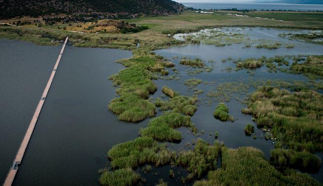 Drone φωτογραφία από το νησάκι του Αγίου Αχίλλειου στις Πρέσπες