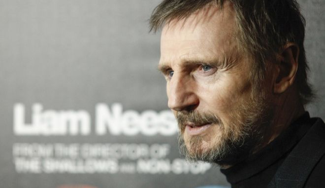 """Liam Neeson attends the premiere of """"The Commuter"""" at AMC Loews Lincoln Square on Monday, Jan. 8, 2018, in New York. (Photo by Andy Kropa/Invision/AP)"""