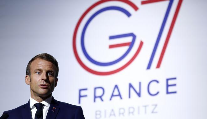 Ο Εμμανουήλ Μακρόν κατά τη διάρκεια της Συνόδου των G7