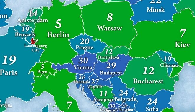 Χάρτης: Τι ποσοστό των κατοίκων κάθε χώρας ζει στην πρωτεύουσα; H θέση της Αθήνας