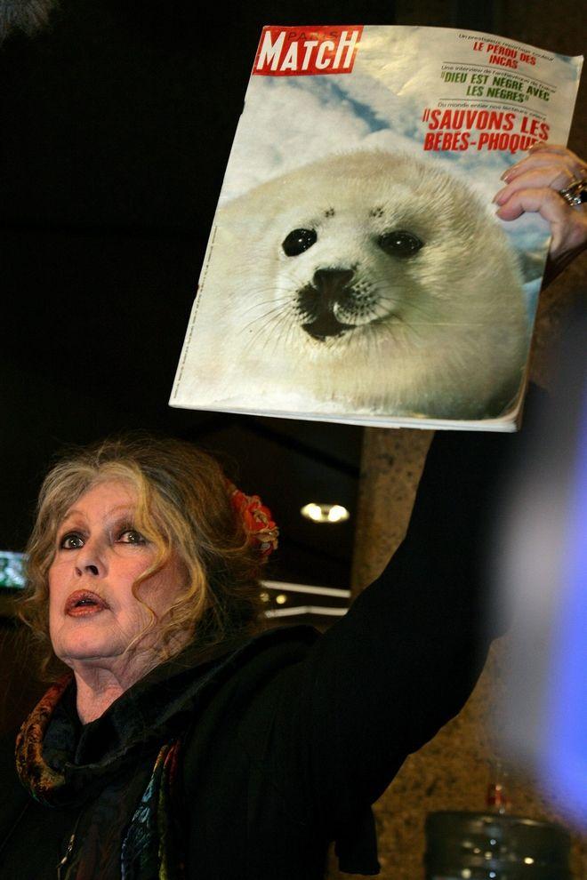 Η Μπριτζίτ Μπαρντό κατά του κυνηγιού φώκιας το 2005