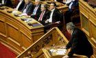 """Ο πρόεδρος των ΑΝΕΛ Πάνος Καμμένος στο βήμα κατά τη συζήτηση και ψήφιση επί της αρχής, των άρθρων και του συνόλου του σχεδίου νόμου του Υπουργείου Εξωτερικών """"Κύρωση του Πρωτοκόλλου στη Συνθήκη του Βορείου Ατλαντικού για την Προσχώρηση της Δημοκρατίας της Βόρειας Μακεδονίας"""""""
