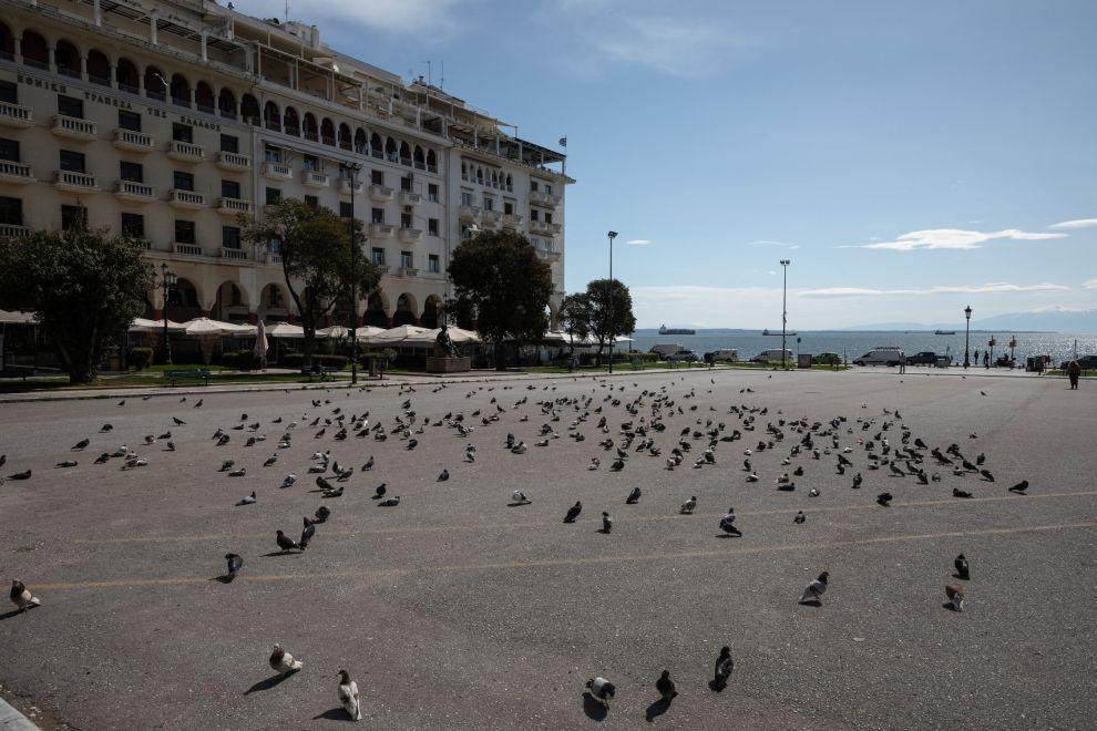 Aristotelous square in Thessaloniki, Greece on April 7, 2020.