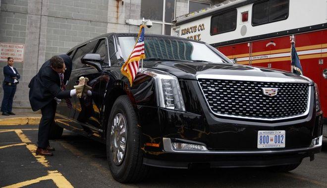 Η καινούργια τεθωρακισμένη Cadillac του Ντόναλντ Τραμπ έκανε την πρώτη της δημόσια εμφάνιση στη σύνοδο κορυφής του ΟΗΕ στη Νέα Υόρκη