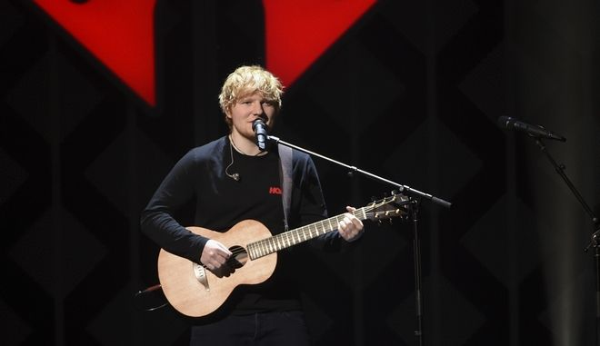 Singer-songwriter Ed Sheeran performs at Z100's iHeartRadio Jingle Ball at Madison Square Garden on Friday, Dec. 8, 2017, in New York. (Photo by Evan Agostini/Invision/AP)