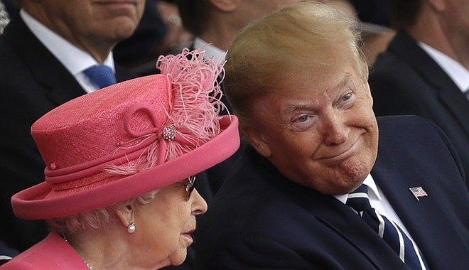 Βασίλισσα Ελισάβετ και Ντόναλντ Τραμπ