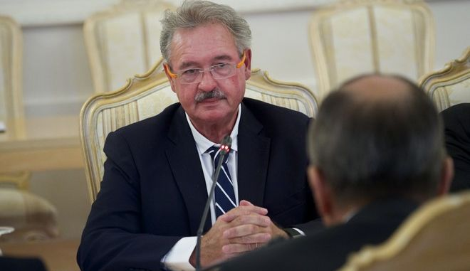 Luxembourg Foreign Minister Jean Asselborn speaks during talks with his Russian counterpart Sergey Lavrov, right, in Moscow, Russia, on Tuesday, Sept. 13, 2016. (AP Photo/Ivan Sekretarev)