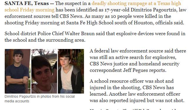 O 17χρονος Δημήτριος Παγουρτζής, ελληνικής καταγωγής φέρεται ως ο δράστης της επίθεσης σε Λύκειο της Σαντα Φε στο Τέξας, με τουλάχιστον 10 θύματα.