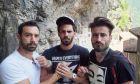 Ο Σάκης Τανιμανίδης, ο Γιώργος Λέντζας και ο Γιώργος Μαυρίδης σε γύρισμα της εκπομπής World Party