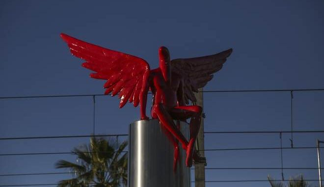 Phylax statue in Paleo Faliro, in Athens, on Jan.5, 2018 /    Phylax   ,  ,  5 , 2018