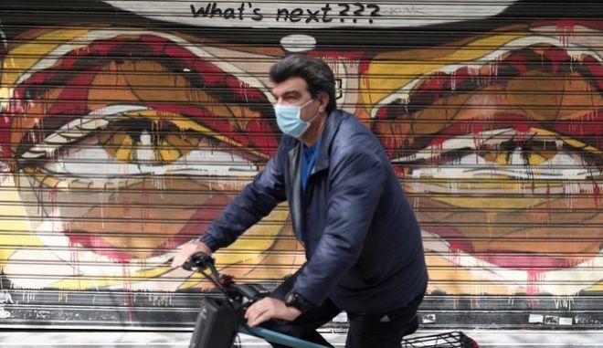 Στιγμιότυπο lockdown στο κέντρο της Αθήνας.