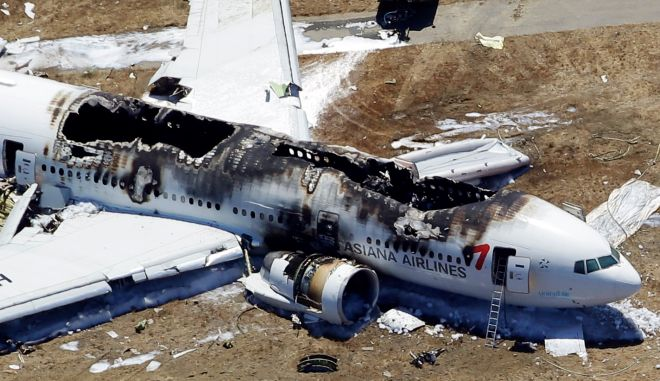 FOR USE AS DESIRED, YEAR END PHOTOS - FILE - This aerial photo shows the wreckage of the Asiana Flight 214 airplane after it crashed at the San Francisco International Airport in San Francisco, Saturday,  July 6, 2013. (AP Photo/Marcio Jose Sanchez, File)