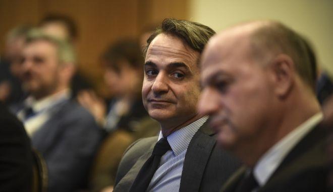 """Ομιλία του Προέδρου της ΝΔ Κυριάκου Μητσοτάκη  στη 2η συνάντηση των Αθηνών για τις Ευρωπαϊκές ΜμΕ με θέμα """"Μικρομεσαίες επιχειρήσεις και Οικονομική Δημοκρατία: μοχλοί ανάπτυξης και καινοτομίας"""", Παρασκευή 9/3/2018. (EUROKINISSI/ΤΑΤΙΑΝΑ ΜΠΟΛΑΡΗ)"""