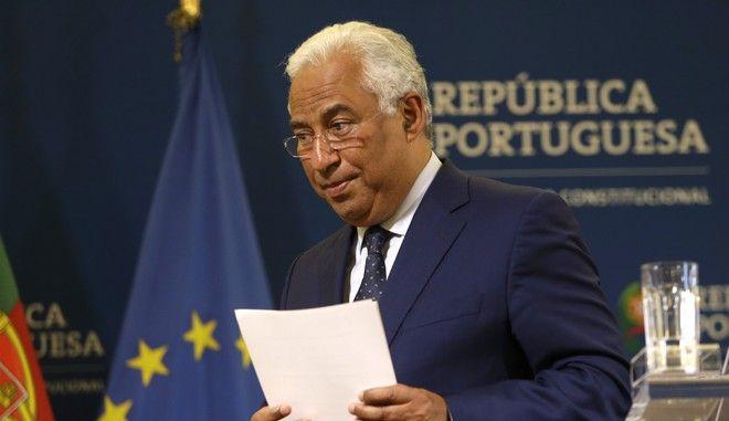 Ο Πορτογάλος πρωθυπουργός Αντόνιο Κόστα μετά από διάγγελμά του στη Λισαβόνα