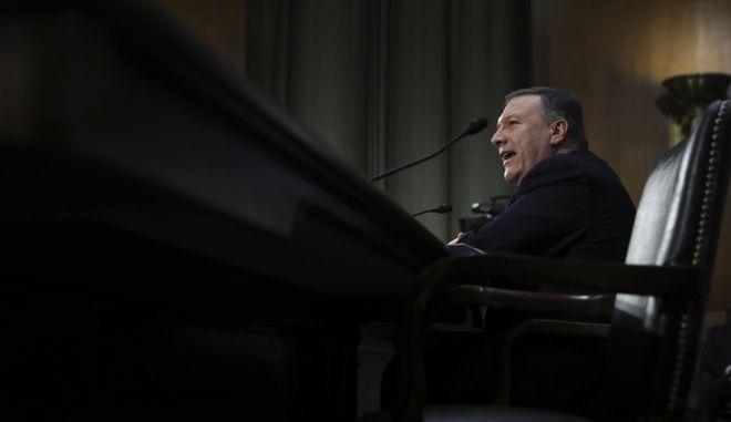 CIA Director-designate Rep. Michael Pompeo, R-Kan. testifies on Capitol Hill in Washington, Thursday, Jan. 12, 2017, at his confirmation hearing before the Senate Intelligence Committee. (AP Photo/Manuel Balce Ceneta)