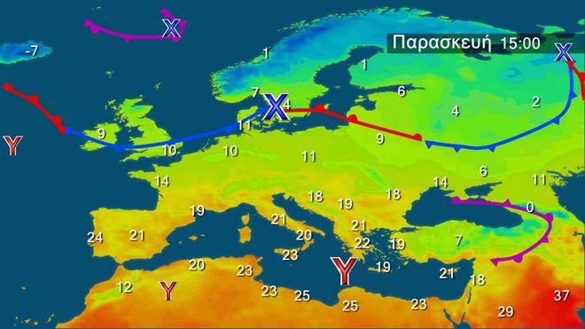 Οι θερμοκρασίες στην Ευρώπη την Παρασκευή