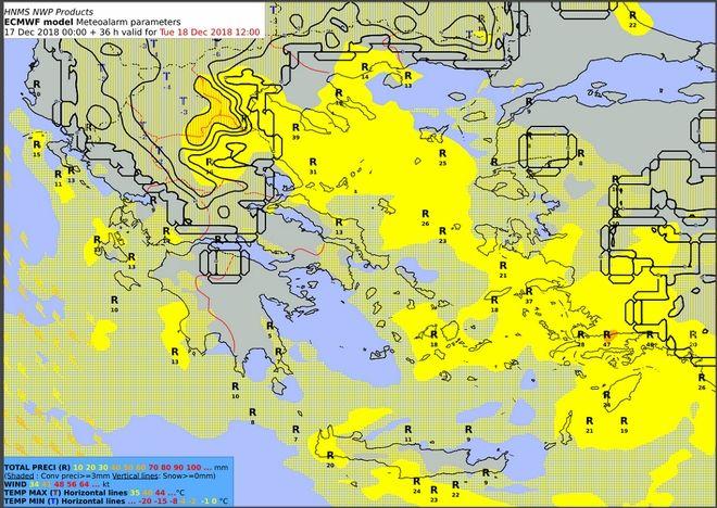 Προβλεπόμενα ύψη υετού από Τρίτη 18/06:00 έως Τρίτη 18/12:00 UTC