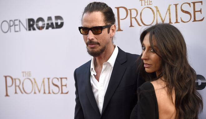 Chris Cornell, left, and Vicky Karayiannis