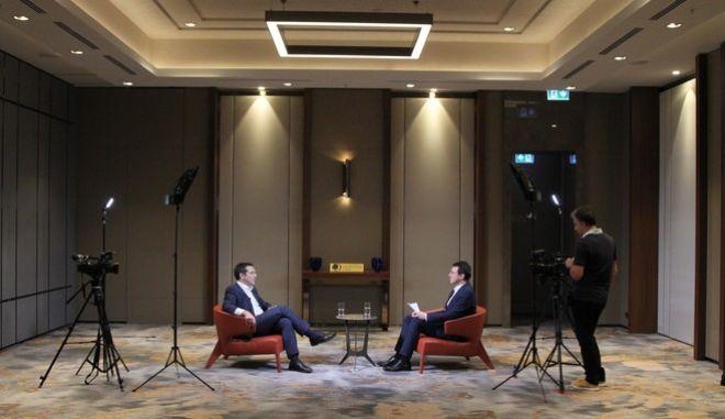 Ο Πρόεδρος του ΣΥΡΙΖΑ, Αλέξης Τσίπρας, σε τηλεοπτική του συνέντευξη στη Βόρεια Μακεδονία