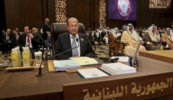 Lebanon's President Michel Aoun attends the summit of the Arab League at the Dead Sea, Jordan, Wednesday, March 29, 2017. Arab leaders are gathering for their annual summit where the long-stalled quest for Palestinian statehood is to take center stage. (AP Photo/Raad Adayleh)