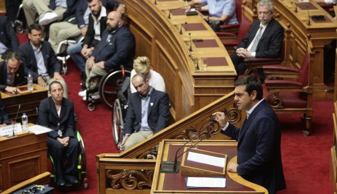 ΒΟΥΛΗ - Ειδική εκδήλωση προς απόδοση τιμής στα μέλη της Ελληνικής Εθνικής Αποστολής που συμμετείχαν στους Παραολυμπιακούς Αγώνες του ΡΙΟ 2016, παρουσία της Α.Ε. ο Πρόεδρος της Δημοκρατίας,  Προκόπης Παυλόπουλος και του Πρωθυπουργού,  Αλέξη Τσίπρα, Παρασκευή 7 Οκτωβρίου 2016. (EUROKINISSI/ΓΙΑΝΝΗΣ ΠΑΝΑΓΟΠΟΥΛΟΣ)