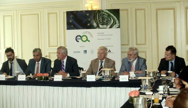 Εν οωη της δευτερης διοργανωσης της Ευρω-Αραβικης Συνοδου  στην αθηνα τον νομεβριο , παρουσια του Πρωθυπου Αλεξη Τσιπραα και του Π.τ.Δ. Προκοπη Παυλοπουλου του Π.τ.Δ. της Κυπρου Ν. Αναστασιαδη  του πρωθυπουργου της Μαλτας καθως και πολλων αρχηγων  και υπουργων  Αραβικων χωρων Υπουργων της Ελληνικης Κυβερνησης του διοικητη της Τραπεζας Ελλαδας Γ.Στουτρναρα  δοθηκε συνεντευξη σημερα οπου παρουσιαστηκε το προγραμμα καθως και οι λεπτομερειες του Foroym ΦΩΤΟ //ΧΡΗΣΤΟΣ ΜΠΟΝΗΣ--EUROKINISSI