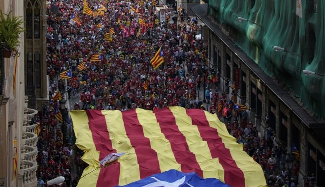Διαδήλωση στη Βαρκελώνη υπέρ της ανεξαρτησίας της Καταλονίας