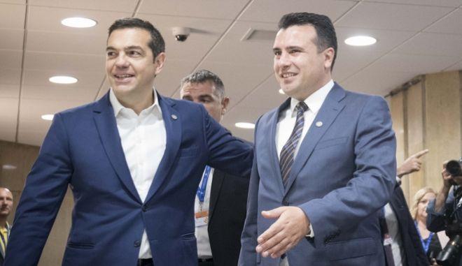 Στιγμιότυπο από την συνάντηση που είχε ο πρωθυπουργός Αλέξης Τσίπρας με τον Σκοπιανό ομόλογό του Ζόραν Ζάεφ