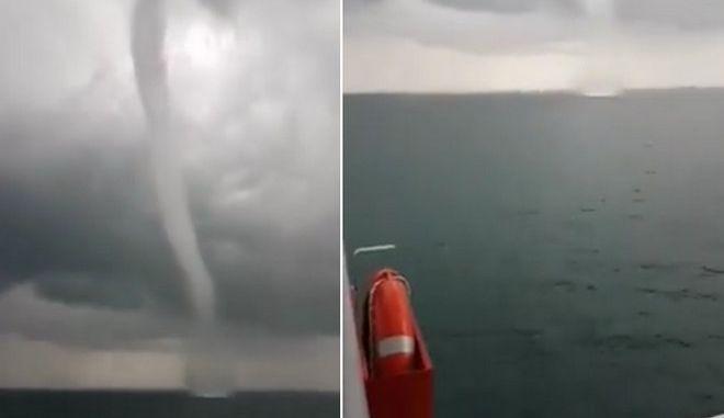 """Υδροστρόβιλος """"χτύπησε"""" πλοίο που ταξίδευε στο Ιόνιο"""