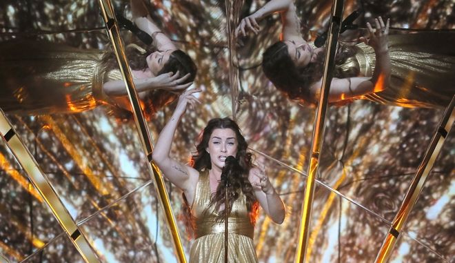 "United Kingdom's Lucie Jones performs the song ""Never Give Up on You"" during rehearsals for the Eurovision Song Contest, in Kiev, Ukraine, Sunday, May 7, 2017. The first semi final of The Eurovision Song Contest 2017 will be held on May 9. (AP Photo/Efrem Lukatsky)"