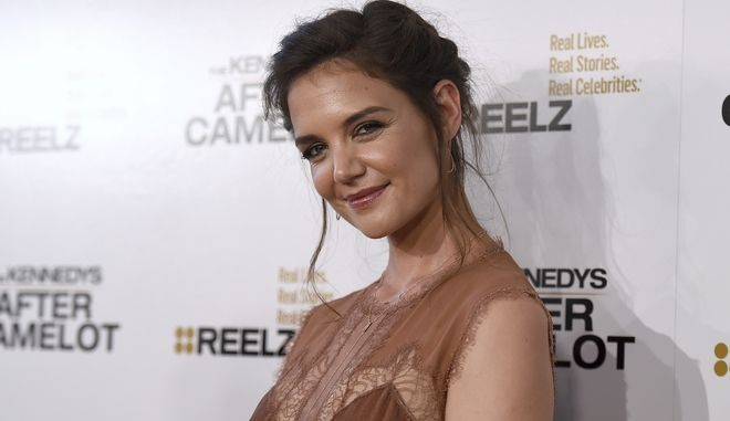 """Katie Holmes arrives at """"The Kennedys - After Camelot"""" at The Paley Center for Media on Wednesday, March 15, 2017, in Beverly Hills, Calif. (Photo by Jordan Strauss/Invision/AP)"""