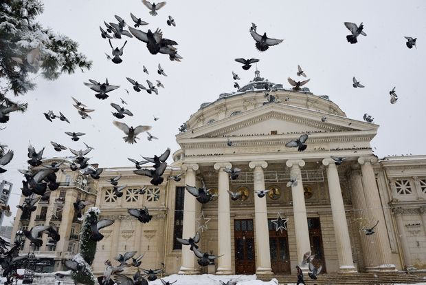 Romanian Atheneum in a winter day.