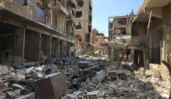 Εικόνα από τη Ντούμα μετά την επίθεση που εκτιμάται ότι έγινε με χημικά