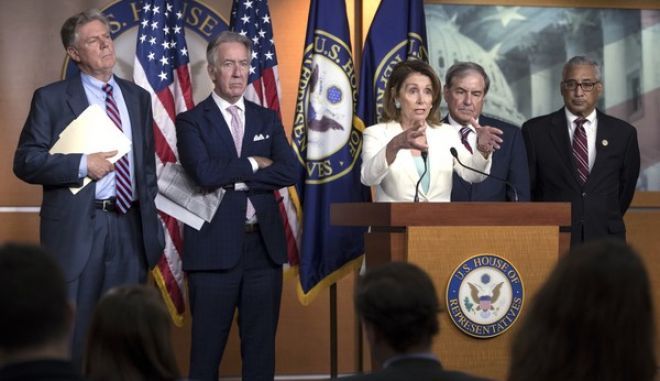 """House Minority Leader Nancy Pelosi, D-Calif., joined by, from left, Rep. Frank Pallone, D-N.J., the ranking member of the House Energy and Commerce Committee, Rep. Richard Neal, D-Mass., the ranking member of Ways and Means, Rep. John Yarmuth, D-Ky., the ranking member of the House Budget Committee, and Rep. Bobby Scott, D-Va., the ranking member on the House Committee on Education and the Workforce, as she discusses the Republican efforts to replace """"Obamacare,"""" during a news conference on Capitol Hill in Washington, Thursday, July 20, 2017. (AP Photo/J. Scott Applewhite)"""