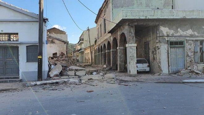 Ισχυρός σεισμός 6,7 ρίχτερ βορειοδυτικά της Σάμου,εικόνες από τις καταστροφές στο Καρλόβασι