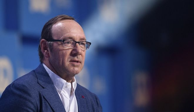 US actor Kevin Spacey speaking at the Bits and Pretzels founders' and investors' festival in Munich, Germany, Sunday, Sept. 24,  2017. (Matthias Balk/dpa via AP)