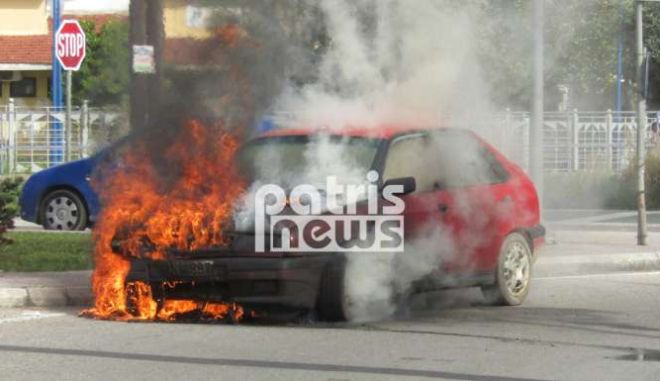 Φωτιά σε αυτοκίνητο στον Πύργο - Σώθηκε από θαύμα ο οδηγός