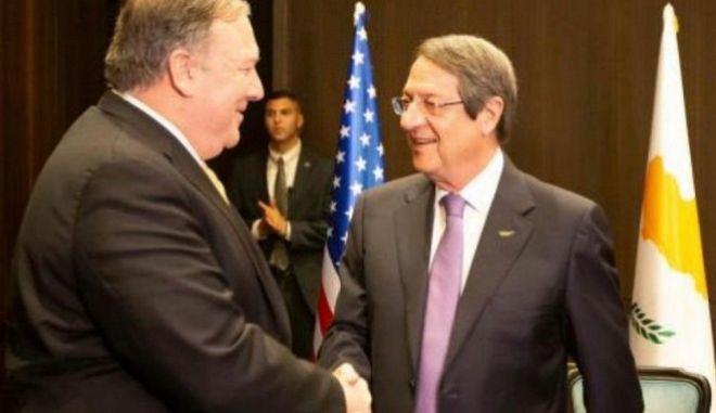 Πομπέο σε Αναστασιάδη: Οι ΗΠΑ αναγνωρίζουν τα κυριαρχικά δικαιώματα Κύπρου και της Ελλάδας