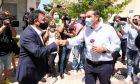 O πρόεδρος του ΣΥΡΙΖΑ - ΠΣ, Αλέξης Τσίπρας κατά την επίσκεψή του στην Ηλεία