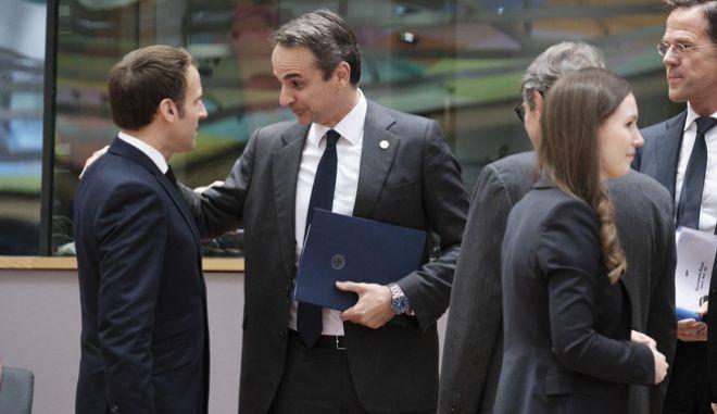 Ο Κυριάκος Μητσοτάκης στη Σύνοδο Κορυφής της ΕΕ.