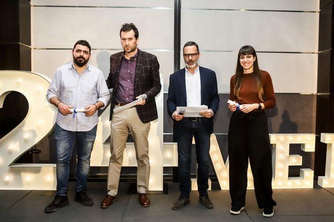Από αριστερά: Μάνος Φραγκιουδάκης, Μάνος Μίχαλος, Πάνος Βελαχουτάκος και Φραντζέσκα Γιατζόγλου-Watkinson