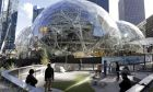 In this photo taken Wednesday, Oct. 11, 2017, large spheres take shape in front of an existing Amazon building and adjacent to a small dog park provided by the company, in Seattle.(AP Photo/Elaine Thompson)