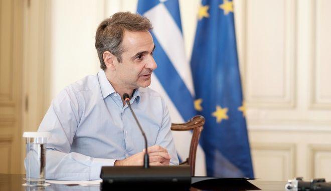 Τηλεδιάσκεψη του Πρωθυπουργού Κυριάκου Μητσοτάκη (EUROKINISSI/ΓτΠ/ΔΗΜΗΤΡΗΣ ΠΑΠΑΜΗΤΣΟΣ)