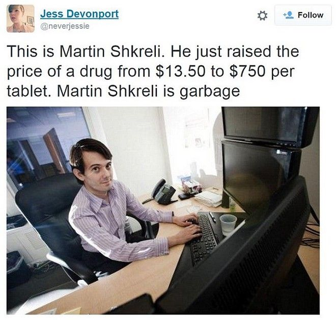 O πιο μισητός επιχειρηματίας του κόσμου. Αύξησε κατά 5.500% την τιμή του φαρμάκου κατά του AIDS