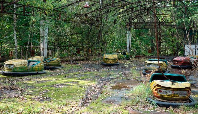 Ένα πρώην Λούνα Παρκ στην περιοχή του Πρίπυατ. Η φωτογραφία τραβήχτηκε το 2017