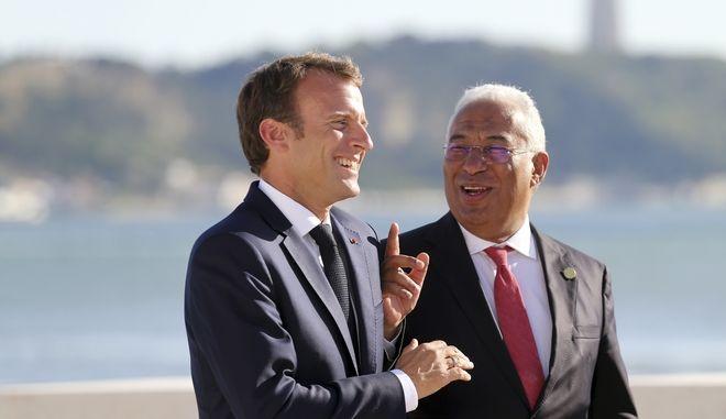Ο Πρόεδρος της Γαλλίας Εμανουέλ Μακρόν και ο πρωθυπουργός της Πορτογαλίας Αντόνιο Κόστα