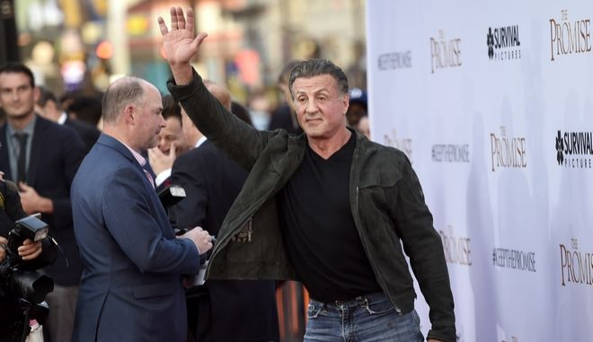 """Sylvester Stallone arrives at the U.S. premiere of """"The Promise"""" at the TCL Chinese Theatre on Wednesday, April 12, 2017, in Los Angeles. (Photo by Chris Pizzello/Invision/AP)"""
